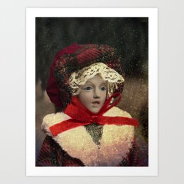 Red hat vintage Christmas doll Art Print