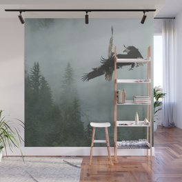 Battle for the Cedars - Bald Eagles Wildlife Scene Wall Mural