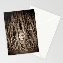 Buddha head in a Banyan Tree in Ayutthaya, Thailand Stationery Cards