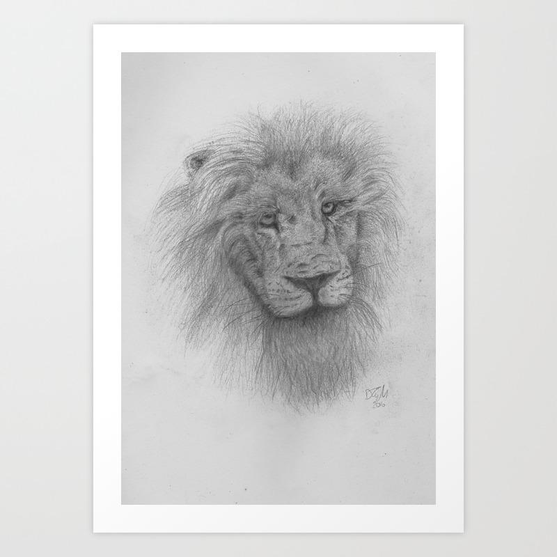 Lion pencil drawing art print