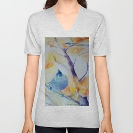 Nuthatch Aspen Morning Looking Up watercolour by CheyAnne Sexton Unisex V-Neck