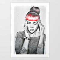 grimes Art Prints featuring Grimes by Eric Magnussen