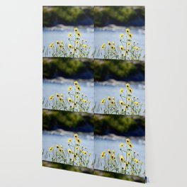 Yellow Flowers by Water Wallpaper