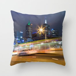 Long Exposure of Tram passing by Throw Pillow