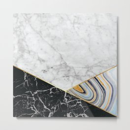White Marble Black Granite & Blue Marble #325 Metal Print