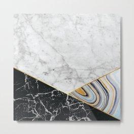Geometric White Marble - Black Granite & Blue Marble #325 Metal Print