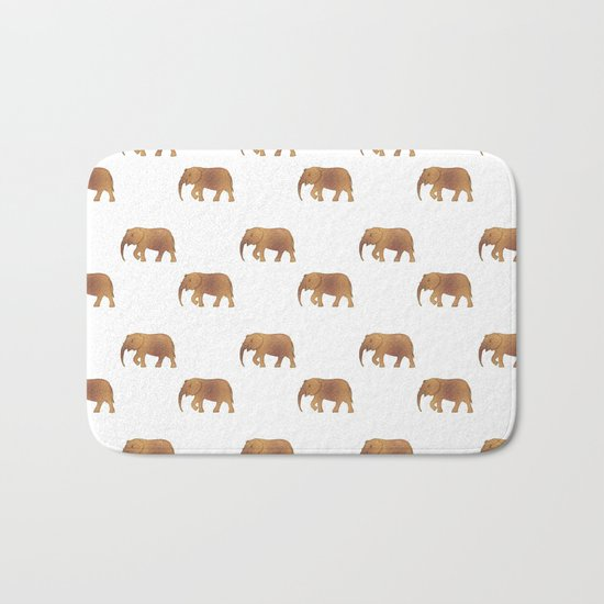 Golden elephants on a white background Bath Mat