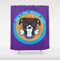 bitch Shower Curtains featuring Bitch by sophiedoodle