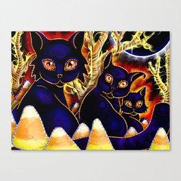 Three Halloween Cats Canvas Print
