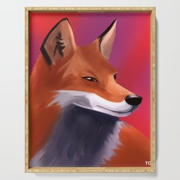 Fox Painting Serving Tray
