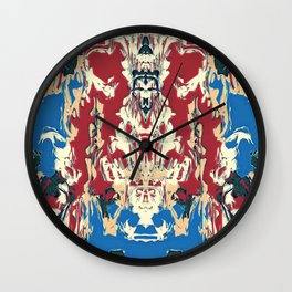 Red and blue abstract shield Wall Clock
