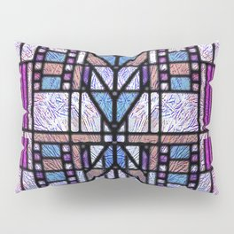 Purple and Blue Art Deco Stained Glass Design Pillow Sham