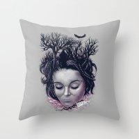 laura palmer Throw Pillows featuring Laura by Jorge Garza