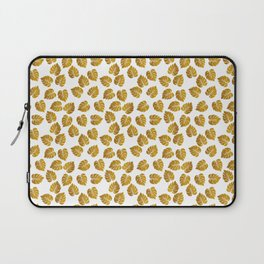 Gold Metallic Foil Photo-Effect Monstera Giant Tropical Leaves Laptop Sleeve