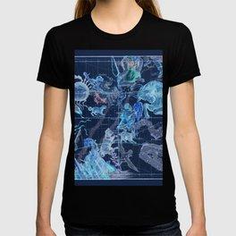Star Atlas Vintage Constellation Map Pardies Plate 5 negative blue inverted T-shirt