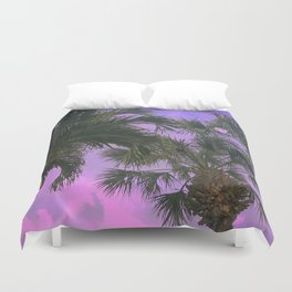Purple Sky Palms Duvet Cover