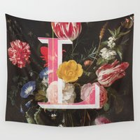 letter Wall Tapestries featuring Letter L by Isabel Arenas