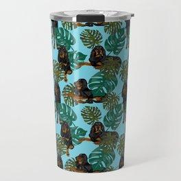 Tropical Black and Tan Coonhounds Travel Mug