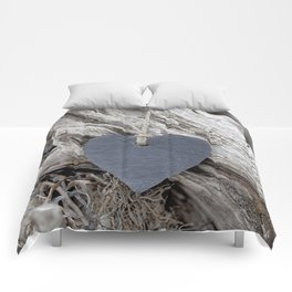 Beach Love Slate Heart on sea washed driftwood Comforters