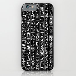 Hieroglyphics B&W INVERTED / Ancient Egyptian hieroglyphics pattern iPhone Case