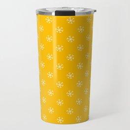White on Amber Orange Snowflakes Travel Mug