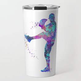 Boy Baseball Softball Pitcher Blue Purple Colorful Watercolor Art Sports Gift Travel Mug