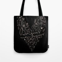 bonjour Tote Bags featuring Bonjour by oh, sensation!