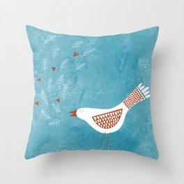 Scandinavian Bird with Hearts Throw Pillow