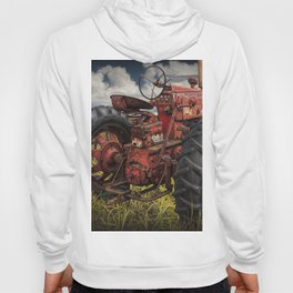 Abandoned Old Farmall Tractor in a Grassy Field on a Farm Hoody