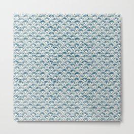 Fish Scales Geometric Pattern in Blue Green Metal Print