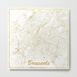Brussels Map Gold Metal Print