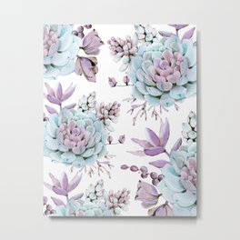 Turquoise and Violet Succulents Metal Print