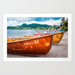 Boats By Lake Titisee | Black Forest Germany Europe Landscape Photography Art Print
