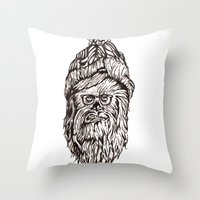 chewbacca Throw Pillows featuring Hipster Chewbacca  by LaurenNoakes