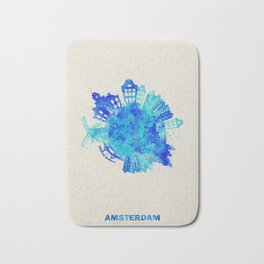 Amsterdam, The Netherlands Colorful Skyround / Skyline Watercolor Painting Bath Mat