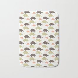 Green Brown and Pink Tortoise Silhouette Seamless Bath Mat