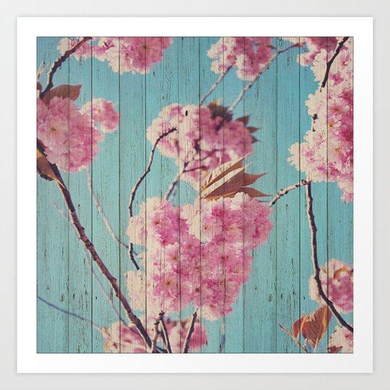 Sweet Flowers on Wood 06 Art Print