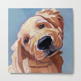 Golden Retriever Puppy Original Oil Painting Metal Print