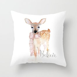 Believe- Christmas fawn Throw Pillow
