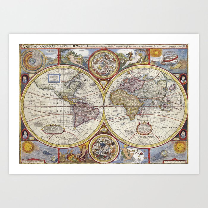 Vintage World Map Art.Vintage World Map Art Print By Peggieprints Society6