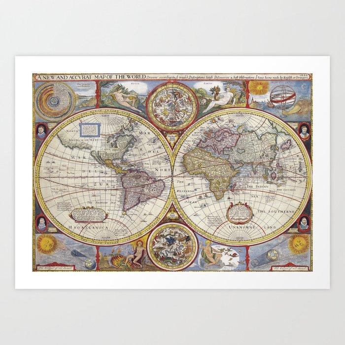 Vintage World Map Art.Vintage World Map Art Print By Peggieprints Society6