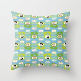 mabo & jimmy garden - blue Throw Pillow