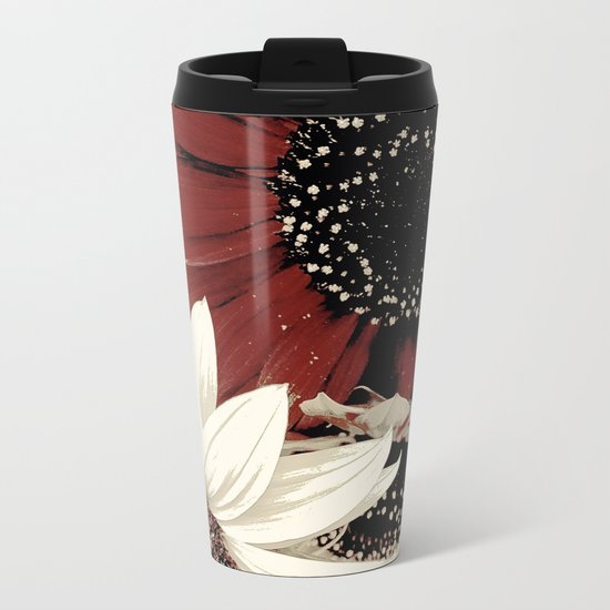 Frosted Sunflowers Metal Travel Mug