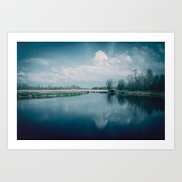 Foggy banks of the wild river in the early morning Art Print