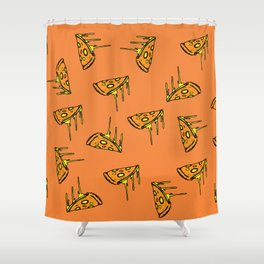 Pepperoni Pizza Dripping Cheese by the Slice Pattern (orange) Shower Curtain