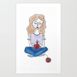 Knitting in color Art Print