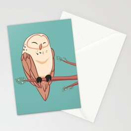 Happy Owl on a Branch Stationery Cards