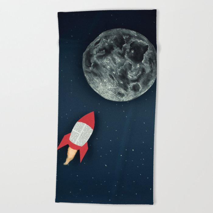 Rocket to the Moon Beach Towel