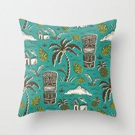 Tiki Party - Aqua Throw Pillow