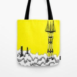 San Francisco - Sutro Tower (yellow sky) Tote Bag